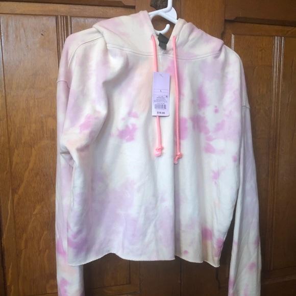 Wild Fable Pink Tye Dye Cropped Hoodie Sweatshirt